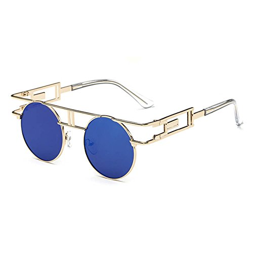 Classic Metal Sunglasses, Round Sunglasses/ Colorful Film Steampunk Sunglasses - Personality European Style Punk Retro Vintage Glasses for Men and Women - European Sunglasses