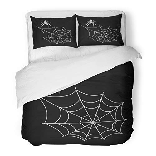 Emvency Bedding Duvet Cover Set Twin (1 Duvet Cover + 1 Pillowcase) Cobweb Spiderweb and Spider for Halloween Spooky Scary Horror Silhouette Hotel Quality Wrinkle and Stain Resistant for $<!--$89.90-->