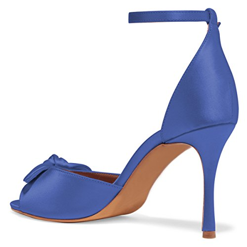 Royal High FSJ Size Toe Heels D'Orsay Sandals Retro Stiletto Blue 15 Women US Shoes Evening Prom Peep Satin 4 nKWf0wT4qf