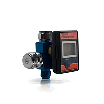 Air Pressure Gauge and Regulator - Digital, for Spray Paint Guns and More, 1/4 Inch Universal Thread Male Inlet Fitting