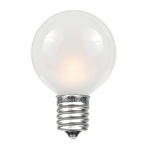 Novelty Lights 25 Pack G50 Outdoor Patio Globe Replacement Bulbs, Frosted White, E17/C9 Intermediate Base, 7 Watt
