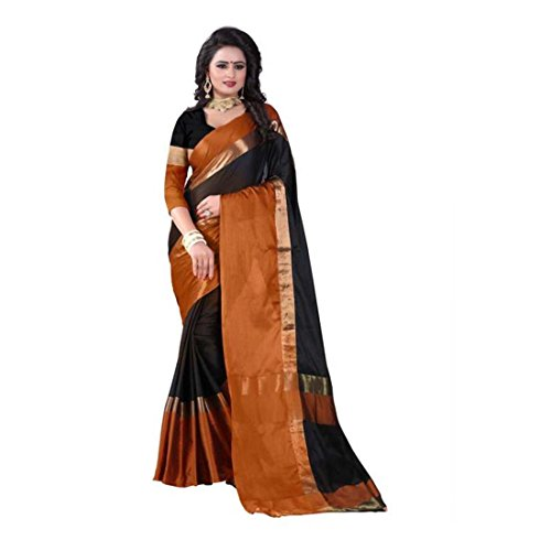 Woven Handicrfats Orange Export Saree Kanjivaram Indian black Cotton q6ROwv