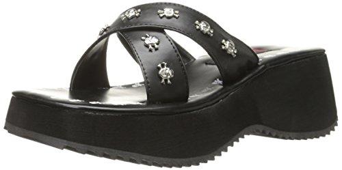femme Schwarz Noir Blk Demonia chaussons txw7P5