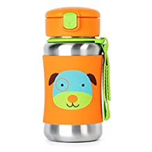 Skip Hop Zoo Insulated Stainless Steel Straw Bottle, 12 oz, Darby Dog