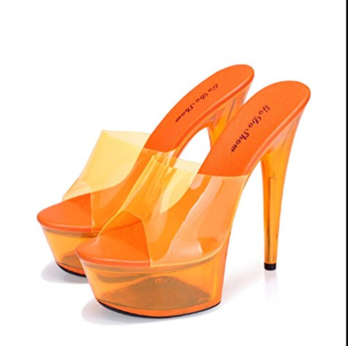 ZPL Damen Sandaletten Plateau High Heels Metallic Stilettos Orange