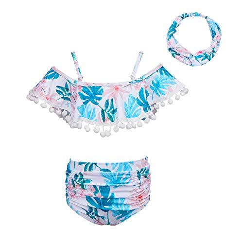 ICOSY Girls Swimsuit with Headband Kids Swimwear Unicorn Ruffle Bathing Suits Rainbow Two Piece Bikini Set for Girls 2-8