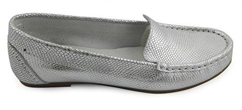 Zerimar Damen Leder Mokassin Damen Mokassin für Damen Leder Lederschuh Schuh Leder Casual Schuh Täglicher Gebrauch Schöne Leder Schuhe für Den Frau Farbe Silber Größe 38