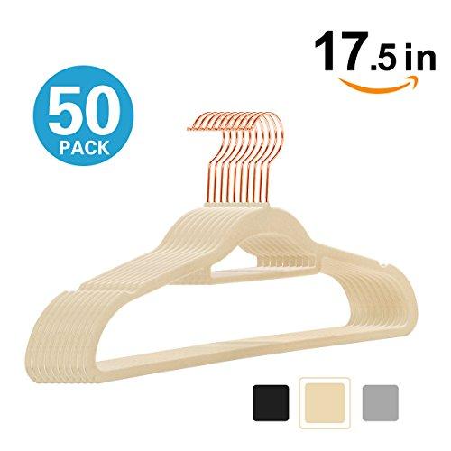Abs Ivory Dress - MOGI'S Premium Velvet Hangers - Pack of 50 - Ivory - Copper/Rose Gold Hooks - Non-Slip, with Bonus Accessory Bar- Great for Suits, Pants, Dresses - by (Ivory)