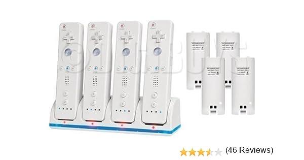 4 x Dock cargador bateria Quad para controladores mando Wii + 4 2 ...
