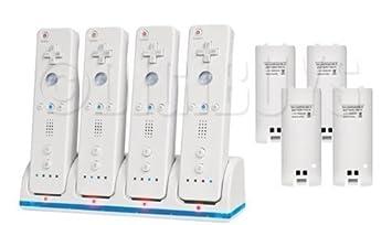 4 x Dock cargador bateria Quad para controladores mando Wii + 4 2 Packs baterias UK