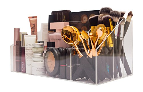 PartyLowkey Make-up Set Organizer, Premium Attractive Acrylic Makeup Palette Storage for All Your Cosmetics, Large