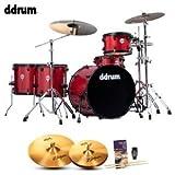 ddrum JMR522-RSP Journeyman Rambler Red Sparkle 5-Piece Shells w/ Cymbals, Hardware, Drum Pedal, Drum Set Guide and Drumsticks