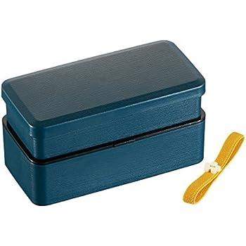 Bento box, Wood grain, Syokado-style, Wa-Modern Navy, Plastic, 2 Tier, with Belt, 6.4in x 3.3in x 3.2in