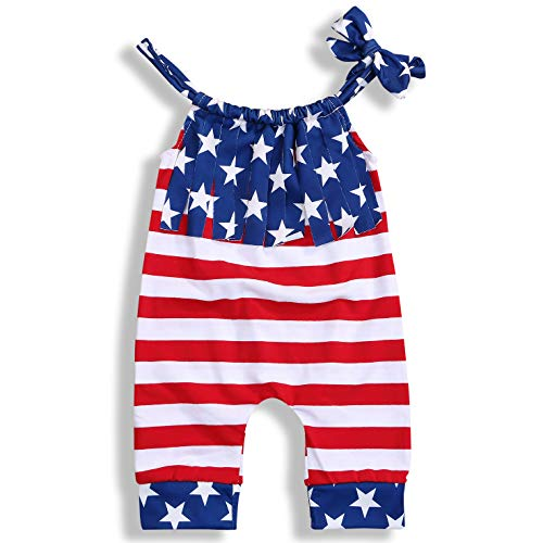 - BELS Baby Boys Girls 4th of July One-Piece Outfits Clothes American Flag Stars Stripes Halter Romper Bodysuit (red and Blue, 12-18m)
