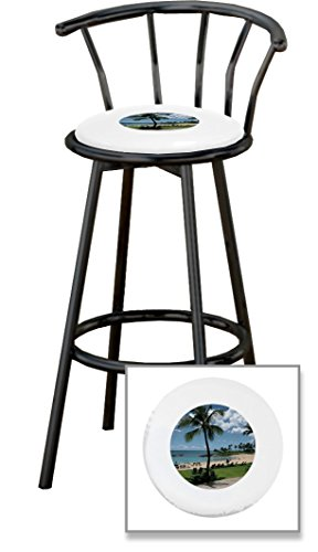 New 24'' Tall Black Metal Finish Swivel Seat Bar Stools with Hawaii Beach Seat Cushions and your choice of colored seat cushion vinyl! by The Furniture Cove