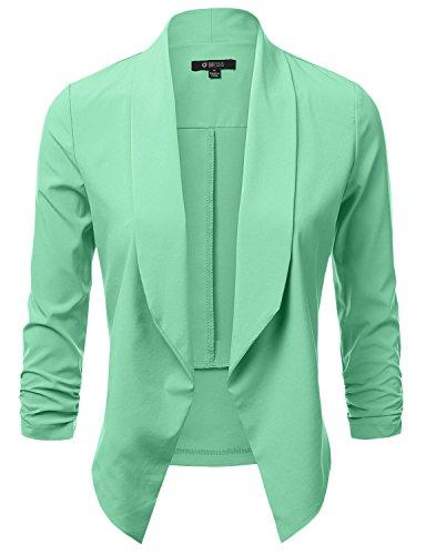 - DRESSIS Womens Lightweight 3/4 Ruched Sleeve Open Front Blazer Mint 3XL