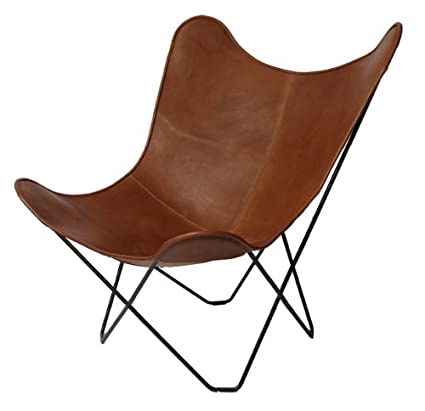 Classic Cover Cowhide Leather BKF Butterfly Chair   Only Cover. (DARK BROWN)