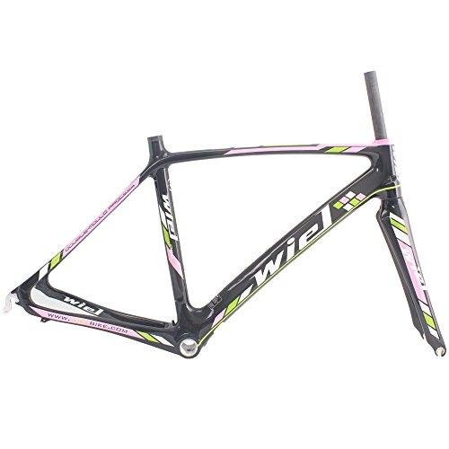 Wiel B076 Full Carbon Road Bike Frameset: Frame+fork+headset+seatpost Clamp - 3K Glossy Pink 490mm