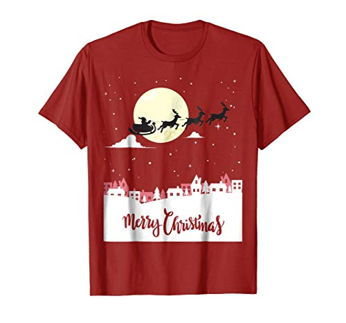 Christmas T-shirt Santa and his sleigh flying in the snow