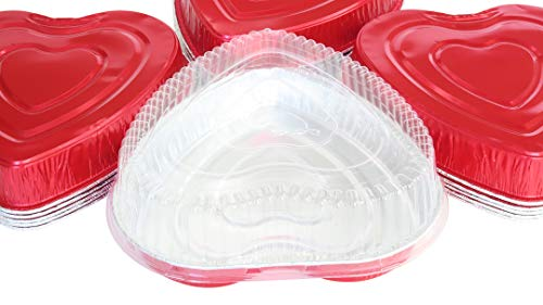 (Disposable Aluminum Heart Shaped Baking/Cake Pan with Clear Plastic Lid (10))