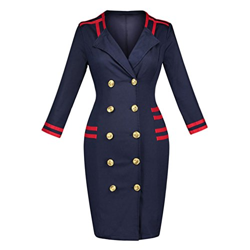 CARMELAA Bodycon Dresses Women Autumn Double Breasted Knee Length Sheath Uniform Pencil Sexy Female Long Sleeve Bodycon Dresses Blue L (Uniform Double Breasted Peaches Uniforms)