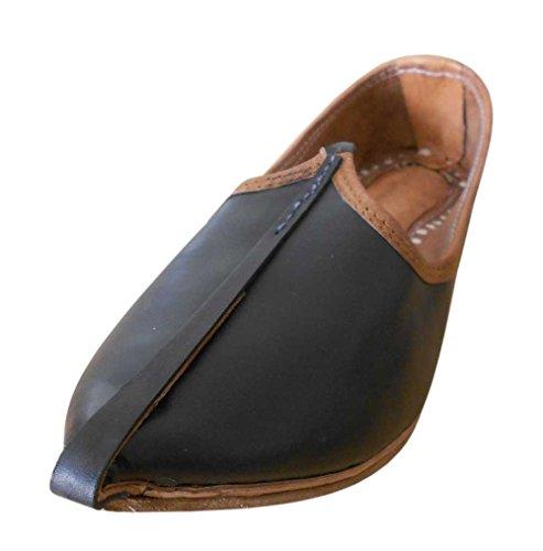 Kalra Creations - Zapatillas de estar por casa de piel auténtica para hombre negro