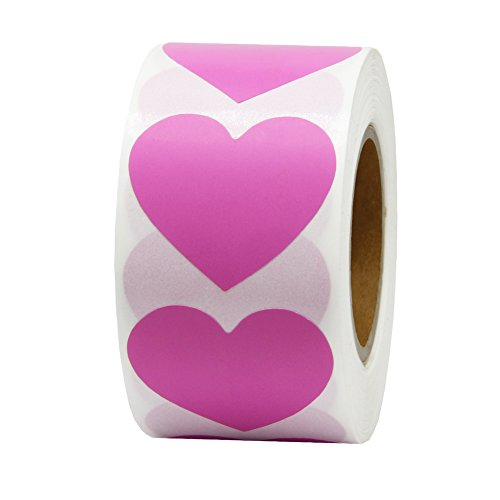(Hcode 1.5'' Color Coding Dot Labels Love Heart Shape Natural Paper Adhesive Label 500 Stickers per Roll)