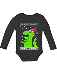 Big Green Trex Santa Ugly Christmas Sweater Grow Vest Baby Long Sleeve Onesie