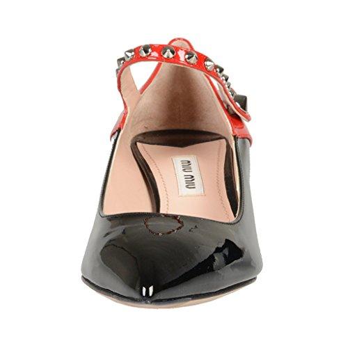 Miu Miu Cuir Verni Chaton Talon Mary Janes Pompes Chaussures Multi-couleur