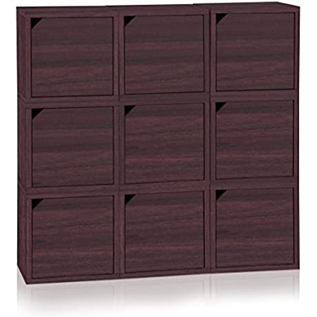 Way Basics Eco Stackable Connect 9 Cube Storage With Doors Espresso Wood Grain Made From Sustainable Non Toxic ZBoard Paperboard