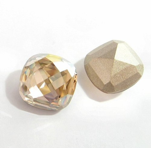 - 2 pcs Swarovski Crystal 4461 Classic Square Cabochon Stone Bead Golden Shadow Foiled 16mm / Findings / Crystallized Element