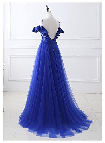 Belle Maison Longue Robes De Bal Pour Les Femmes Spaghetti Une Robes De Soirée Formelle De Ligne 2018 Bleu Royal