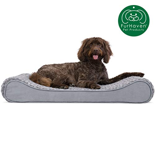 Furhaven Pet Dog Bed | Orthopedic Ultra Plush Faux Fur Ergonomic Luxe Lounger Cradle Mattress Contour Pet Bed w/ Removable Cover for Dogs & Cats, Gray, Large (Sasha Bed)