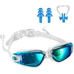 Swimming Goggles,Tenew Swimming Goggles with Ear Plugs and Nose Clip,UV400 Protection No Leaking Anti-Fog Lens with Adjustable Strap (Blue)