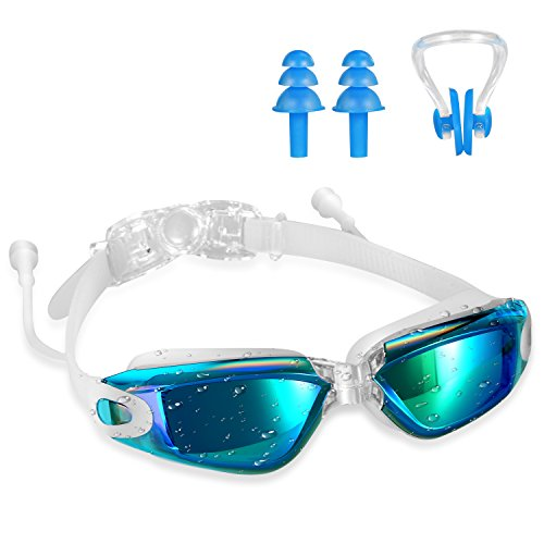 Swimming Goggles,Tenew Swimming Goggles with Ear Plugs and Nose Clip,UV400 Protection No Leaking Anti-Fog Lens with Adjustable Strap - Nose Goggles
