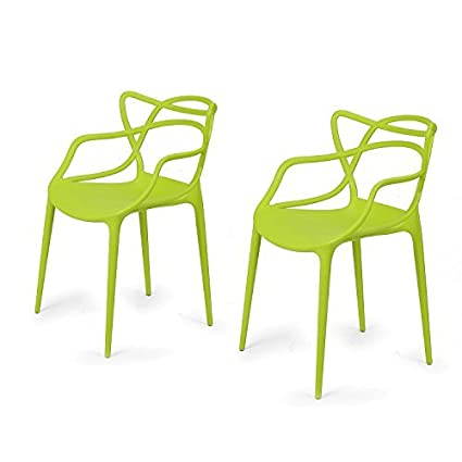 Pleasing Edeco Modern Contemporary Polypropylene Design Stackable Arm Chair Set Of 2 For Kitchen Living Room Indoor Outdoor Patio Counter Stools Green Gmtry Best Dining Table And Chair Ideas Images Gmtryco
