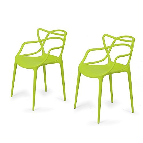 EDECO Modern Contemporary Polypropylene Design Stackable Arm Chair Set of 2 for Kitchen Living Room Indoor Outdoor Patio Counter Stools (Green) (Metal Garden Cream Bench)