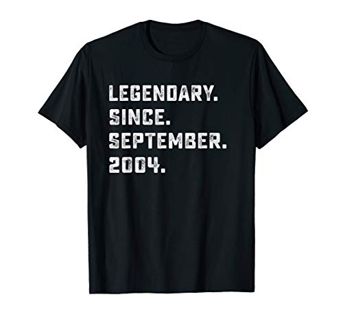 Legendary Since September 2004 Birthday Gift For 15 Yrs Old  T-Shirt