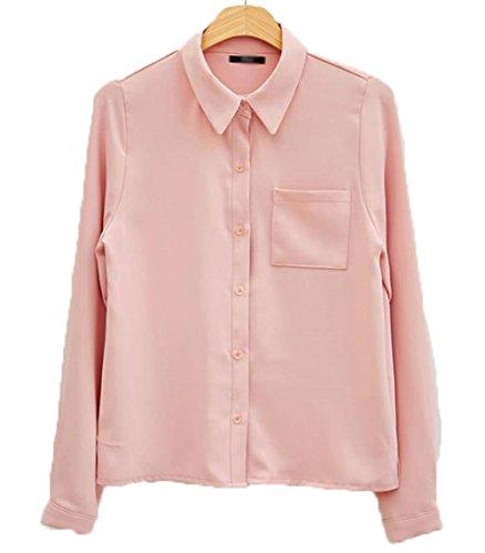 努力銛いじめっ子BAJIAN レディース ブラウス シャツ トップス ゆったり 春秋 カジュアル ファッション ピンク L