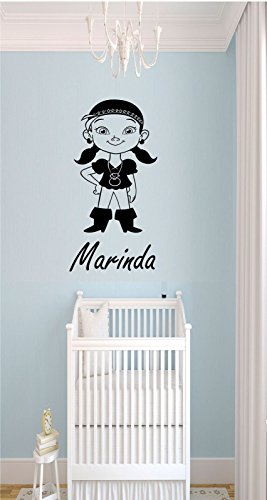 Disney Pirates Wall Art Stickers The Never Land IZZY Personalized Name Removable Vinyl Decals kid's Room Decor -