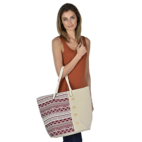 Red Canvas Shopping Beach Tote Holiday Aztec Shoulder Ladies Handbag Bag 4AwzSxnqg
