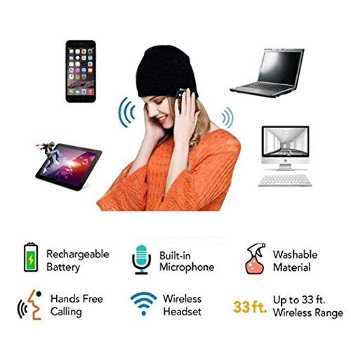 Unisex Bluetooth Wireless Headset Music Beanie Knit Hat with Speakers and Mic
