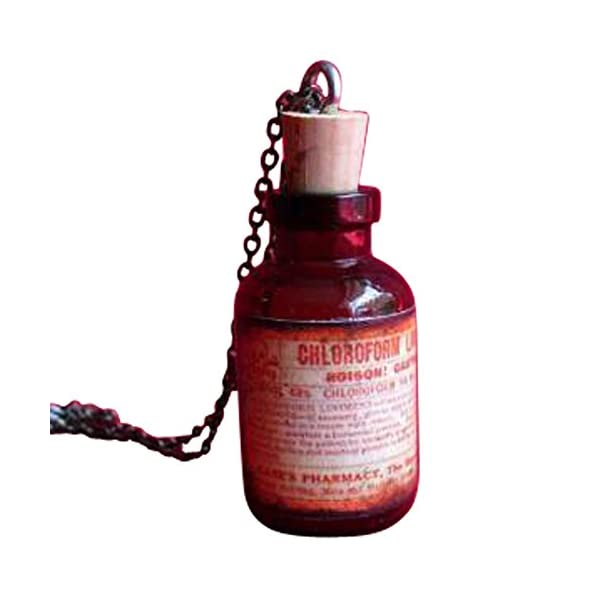 Steampunk Victorian Goth Apothecary Poison Bottle Pendant Charm Necklace- orange 3