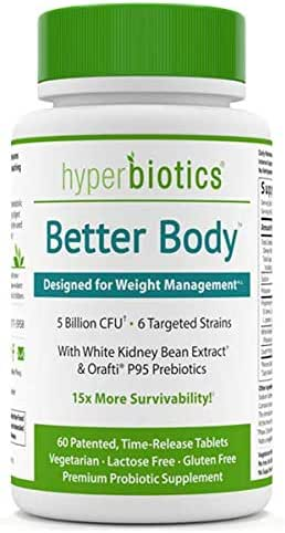 Hyperbiotics Better Body with White Kidney Bean Extract & Orafti P95 Prebiotics—60 Tablets | Weight Management Support