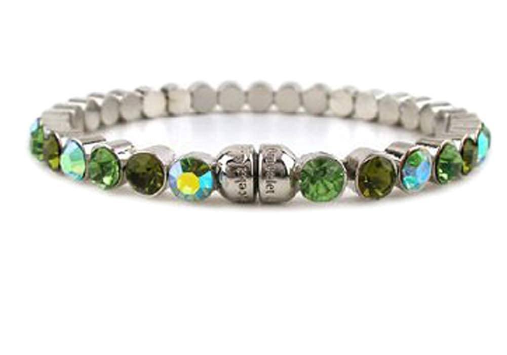 1005 Olivine-per Fashion Jewelry ~ Olivine Green Studded Crystals Magnetic Bracelet