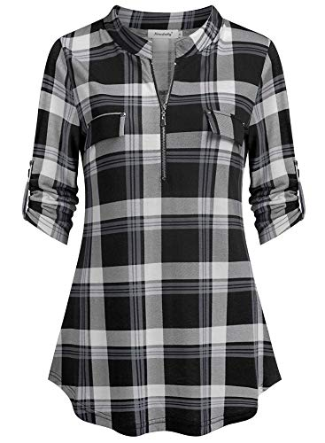 (Ninedaily Plaid Shirts, Slouchy Soft Maternity Oversized Sexy Buffalo Plaid Tops Linen Shirts Demin Half Zip Curved Bottom Cuffed Sleeve Button Tap Blouse Grid with Fake Pocket, Blackwhitegrayplaid, XL/US 16-18)