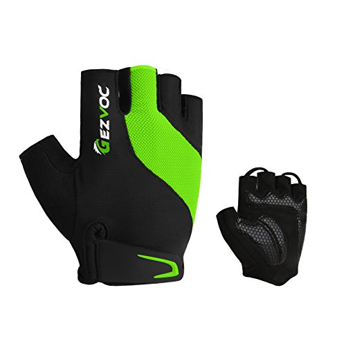 GEZVOC Bike Gloves Biking Gloves Men&Women Cycling Gloves Bicycle Gloves Half Finger Breathable Non-Slip Shock-Absorbing Mountain Bike Gloves for Outdoors Workout Exercise (Green, Medium) -