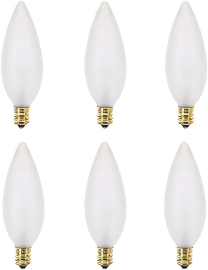 25W B10 Incandescent Frosted Chandelier Light Bulb, Torpedo Tip, E12 Candelabra Base, 170 Lumens, Dimmable, 130V, (6 Pack)