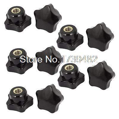 Nut & Bolt - 10 Pcs M6 x 32mm Plastic Star Head Clamping Nuts Lever Trend Wing Thumb Knob