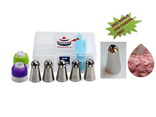 BRANDIOSA 19-Piece Russian Ball Piping Tips Kit- Icing Decoration Set Of 5 Cake Decorating Tips+1 Single Coupler+1 Tri-Coupler+11 Pastry Bags+Plastic Storage Box For decorating ()
